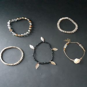 5 assorted stretch bracelets